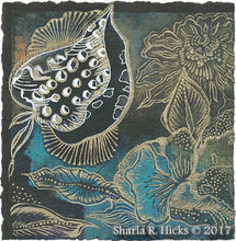 Load image into Gallery viewer, workshop example that uses monoprint as inspiration for tangle-inspired botanicals by Sharla R. Hicks, CZT and author