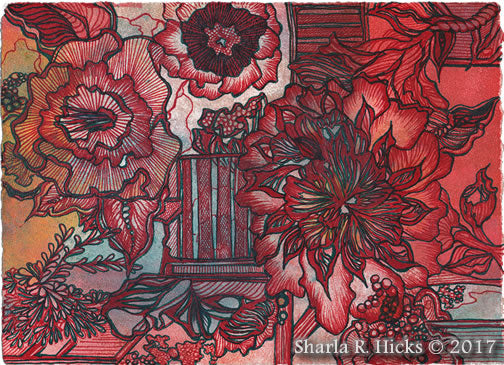 Tangle-Inspired Botanical, artist Sharla R. Hicks, CZT and author