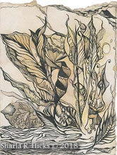 Load image into Gallery viewer, workshop example of enhanced eco-dyed background that becomes a tangle-inspired botanicals by Sharla R. Hicks, CZT and author