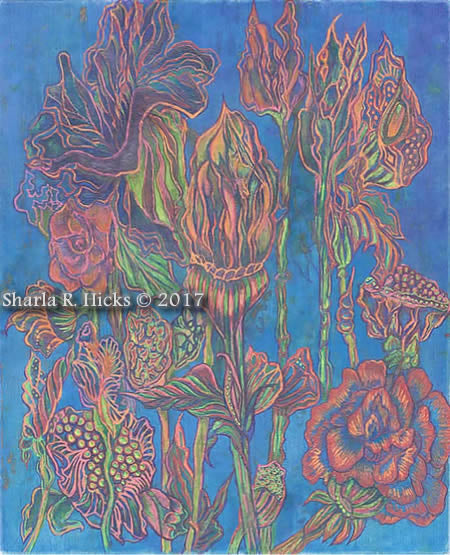Orange & Blue, Artwork by Sharla R. Hicks, copyright