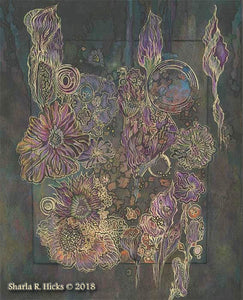 wworkshop example that uses monoprint as inspiration for tangle-inspired botanicals by Sharla R. Hicks, CZT and author