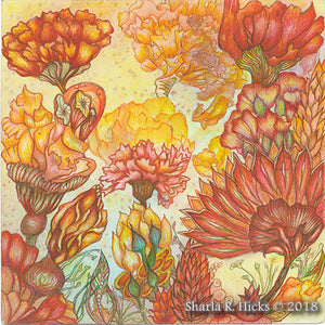 Tangle-Inspired botanicals by Sharla R. Hicks showing techniques offered in the workshop.