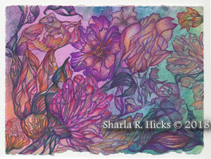 workshop example that uses monoprint as inspiration for tangle-inspired botanicals by Sharla R. Hicks, CZT and author