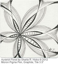 Load image into Gallery viewer, Auraknow Floral, a tangle by Sharla R. Hicks, artist, CZT, Author
