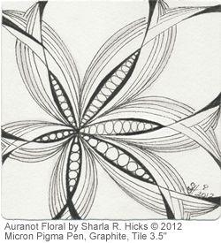 Auraknow Floral, a tangle by Sharla R. Hicks, artist, CZT, Author