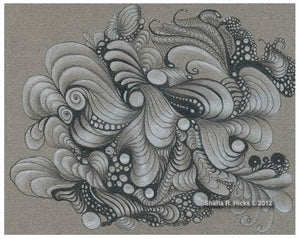 SharlaRella is an essential tangle for developing texture and form in the work.  Art by Sharla R. Hicks