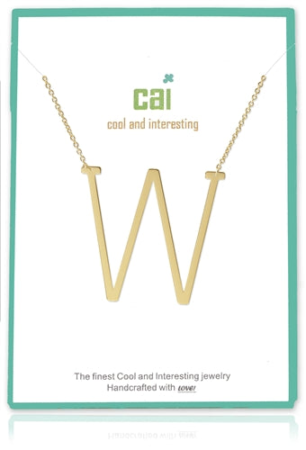 W Gold Medium Sideways Necklace