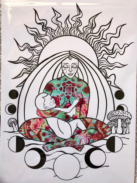 Breastfeeding Gaia Art Print A4