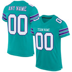 Custom Aqua White-Purple Mesh Authentic Football Jersey