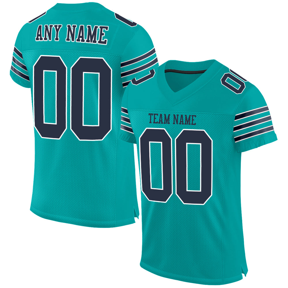 Custom Aqua Navy-White Mesh Authentic Football Jersey