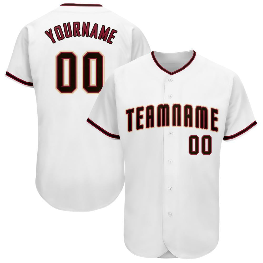 Custom White Black-Crimson Baseball Jersey