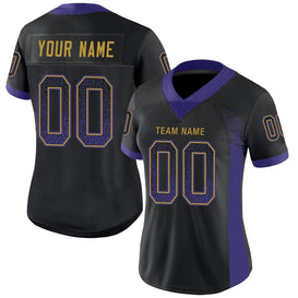 Custom Black Purple-Old Gold Mesh Drift Fashion Football Jersey