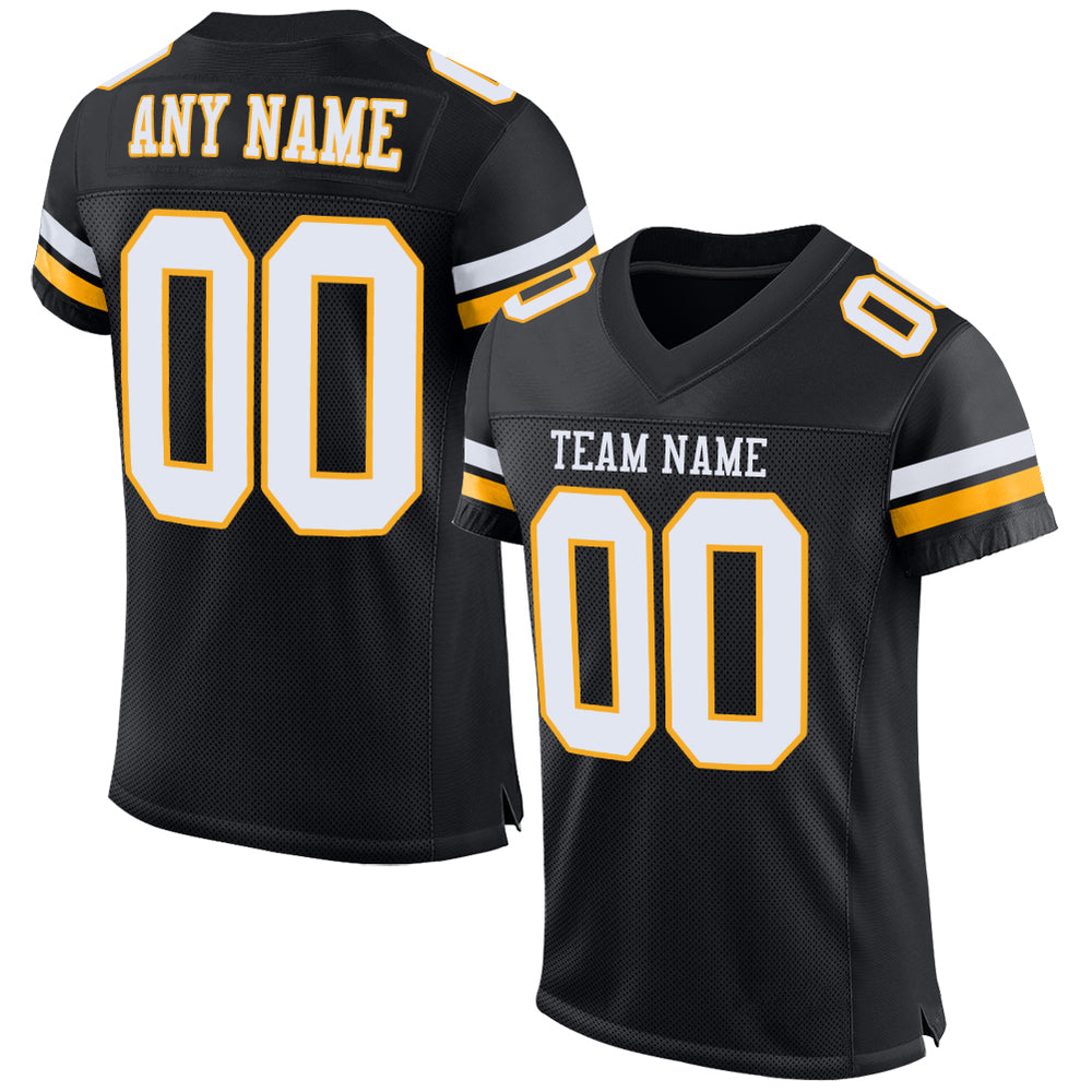 Custom Black White-Gold Mesh Authentic Football Jersey