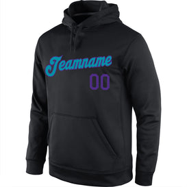 Custom Stitched Black Purple-Teal Sports Pullover Sweatshirt Hoodie