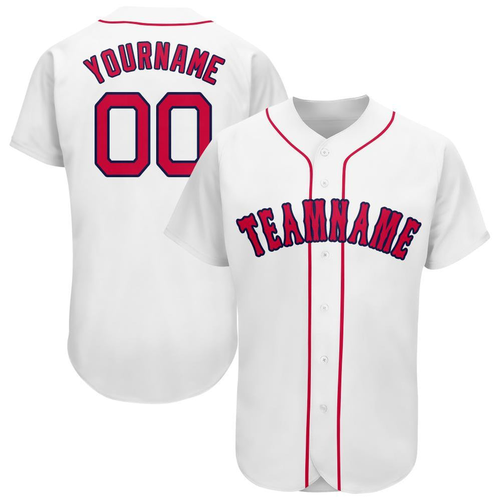 Custom White Red-Navy Baseball Jersey