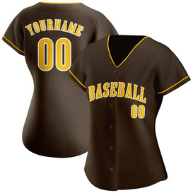 Custom Brown Gold-White Authentic Baseball Jersey