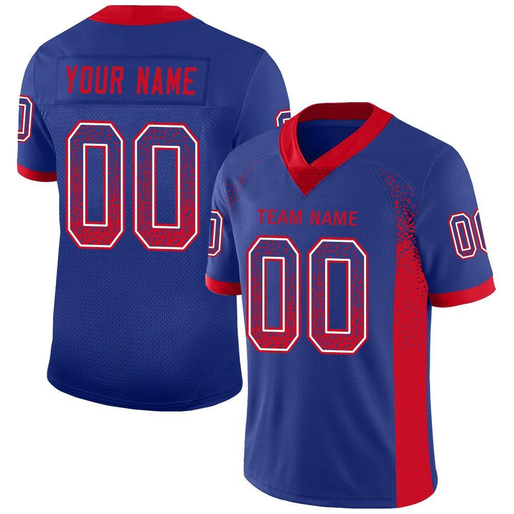 Custom Royal Red-White Mesh Drift Fashion Football Jersey