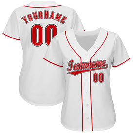 Custom White Red-Black Baseball Jersey