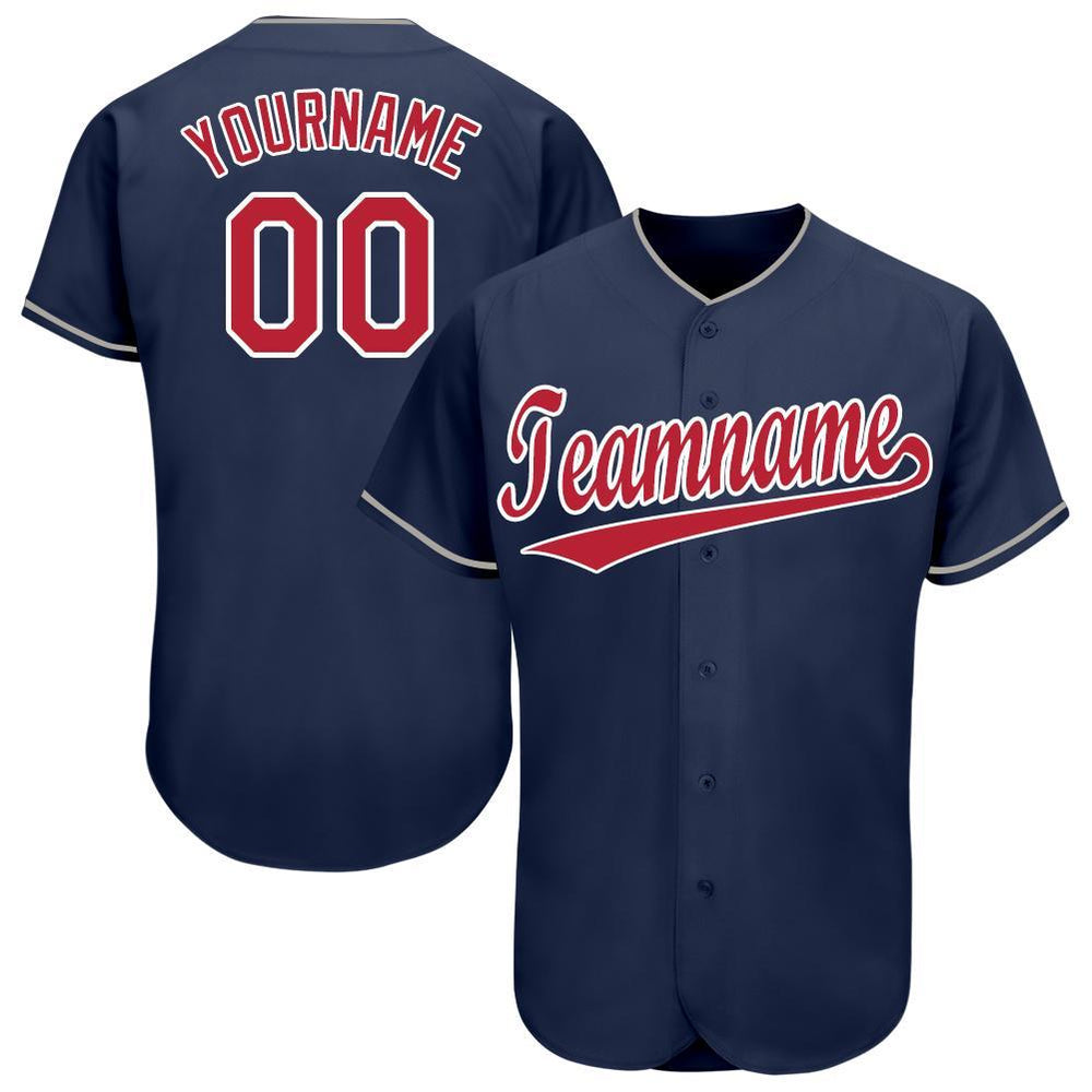 Custom Navy Red-White Baseball Jersey