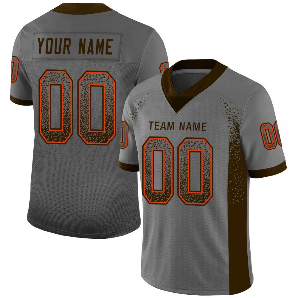 Custom Gray Brown-Orange Mesh Drift Fashion Football Jersey