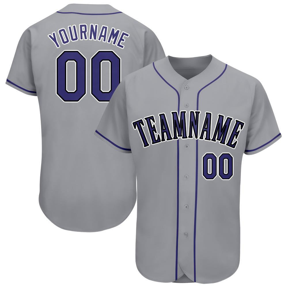 Custom Gray Purple-Black Baseball Jersey