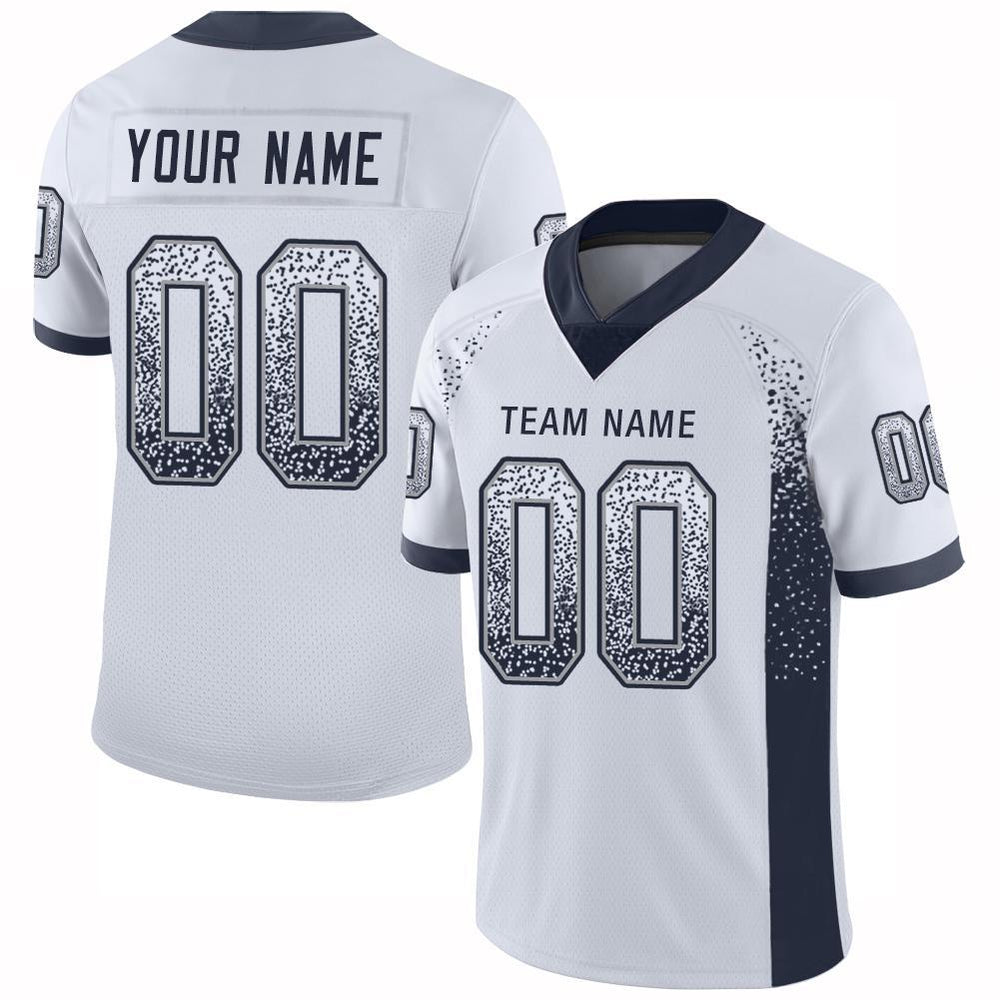 Custom White Navy-Gray Mesh Drift Fashion Football Jersey