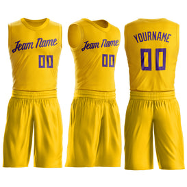 Custom Gold Purple Round Neck Suit Basketball Jersey