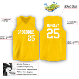 Custom Gold White V-Neck Basketball Jersey