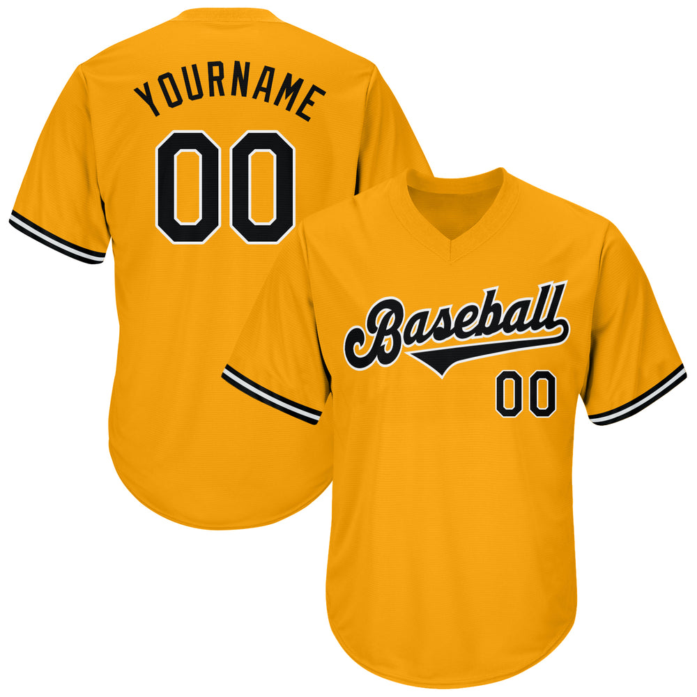 Custom Gold Black-White Authentic Throwback Rib-Knit Baseball Jersey Shirt