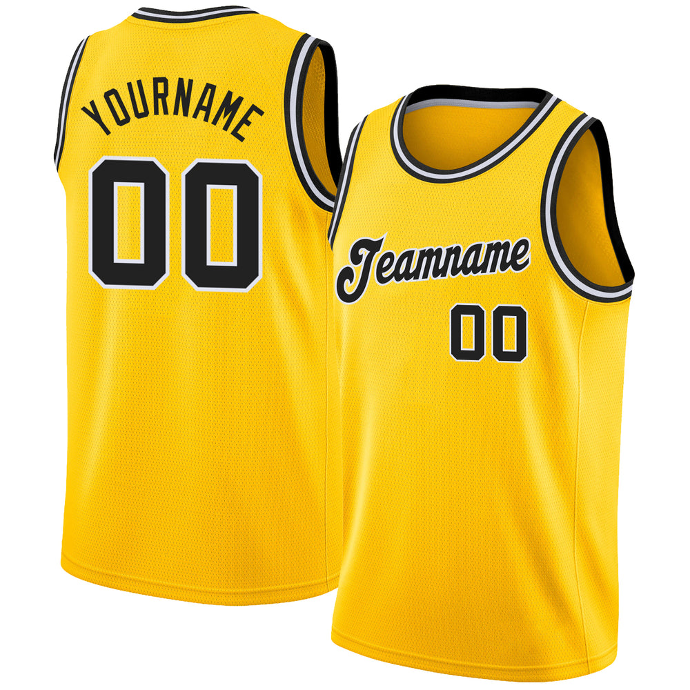 Custom Gold Black-White Round Neck Rib-Knit Basketball Jersey