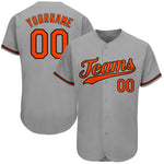 Custom Gray Orange-Black Authentic Baseball Jersey