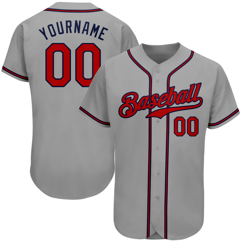 Custom Gray Red-Navy Authentic Baseball Jersey