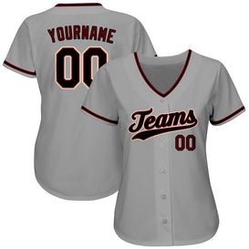 Custom Gray Black-Crimson Authentic Baseball Jersey