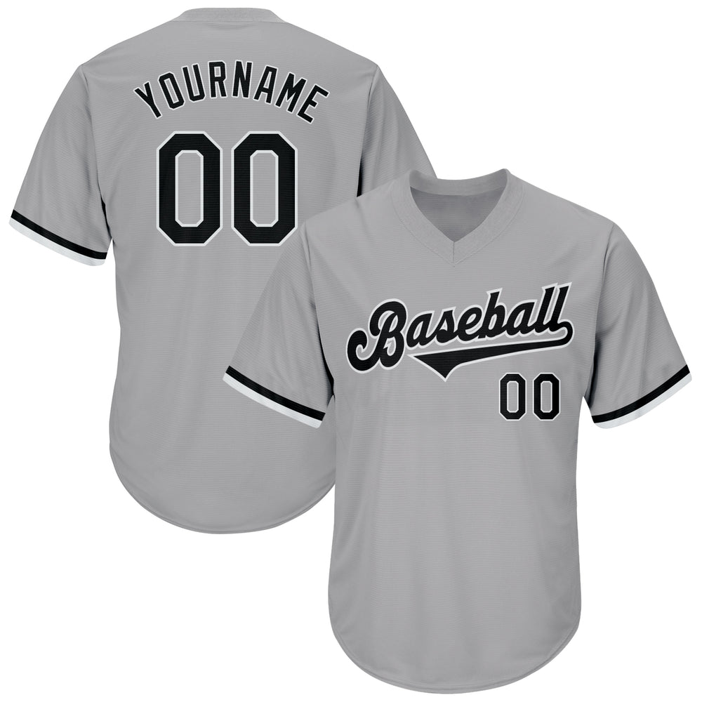Custom Gray Black-White Authentic Throwback Rib-Knit Baseball Jersey Shirt