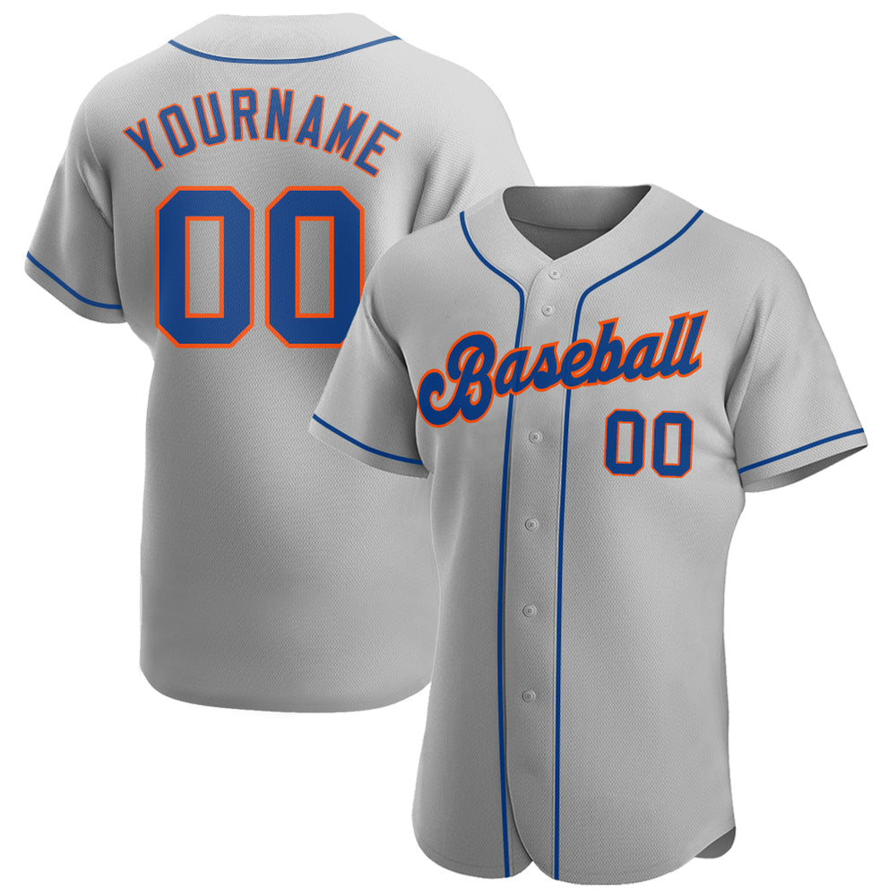 Custom Gray Royal-Orange Authentic Baseball Jersey