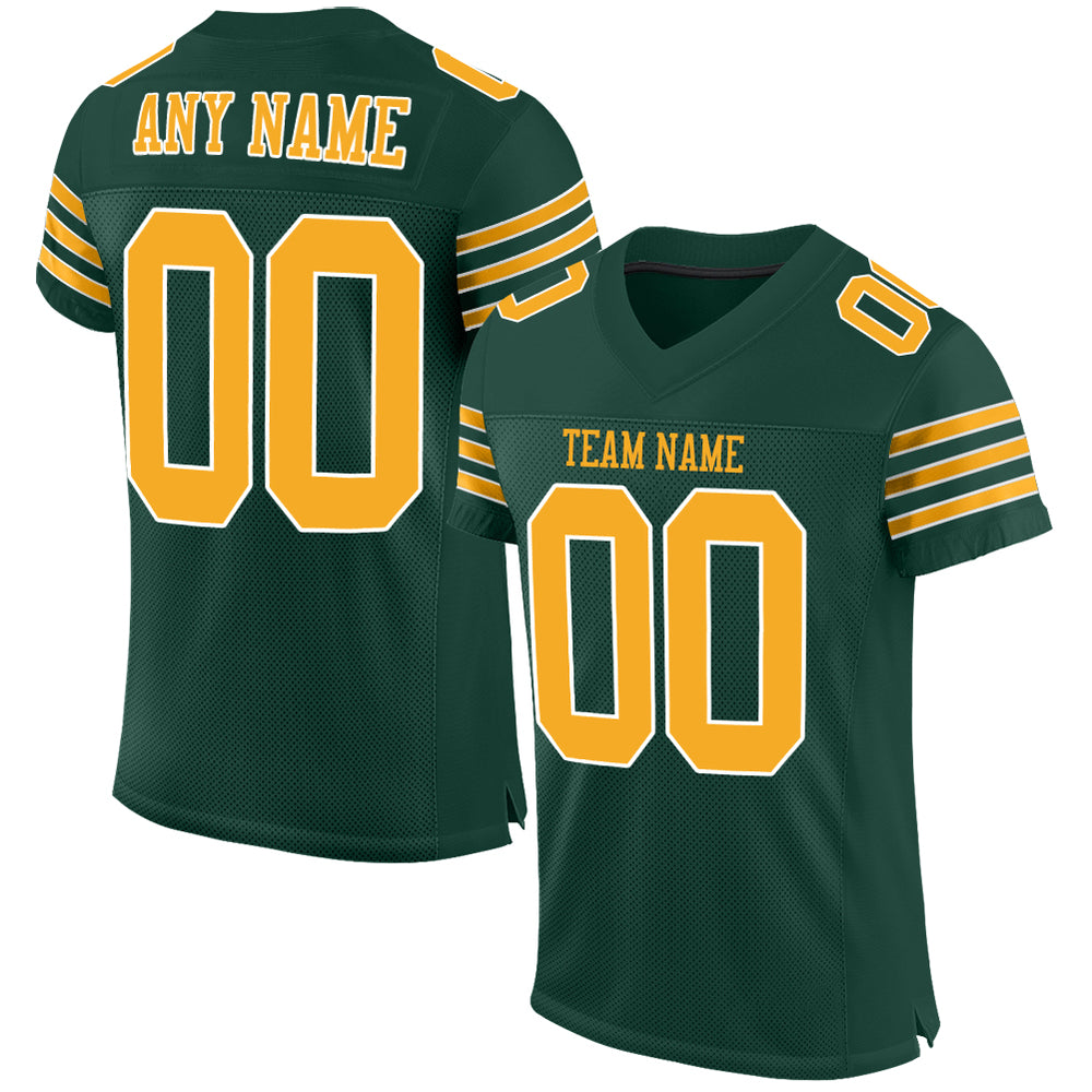 Custom Green Gold-White Mesh Authentic Football Jersey