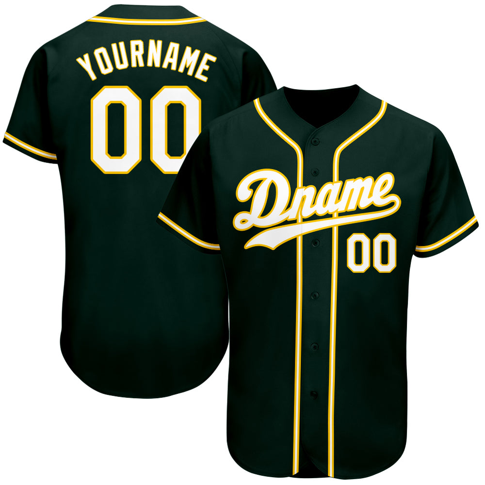 Custom Green White-Gold Authentic Baseball Jersey