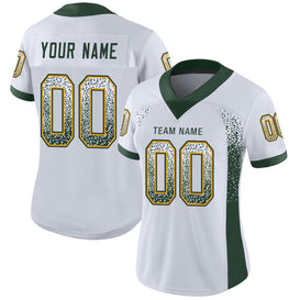 Custom White Green-Gold Mesh Drift Fashion Football Jersey