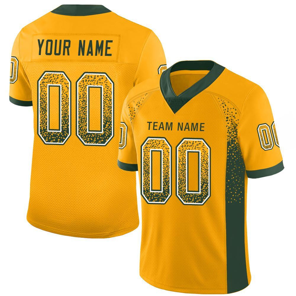 Custom Green Bay Gold Mesh Drift Fashion Football Jersey