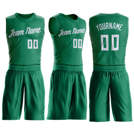 Custom Kelly Green White Round Neck Suit Basketball Jersey