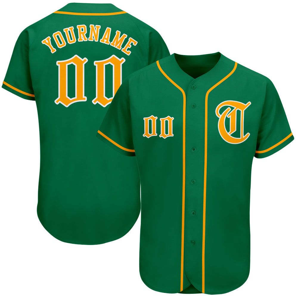 Custom Kelly Green Gold-White Authentic Baseball Jersey