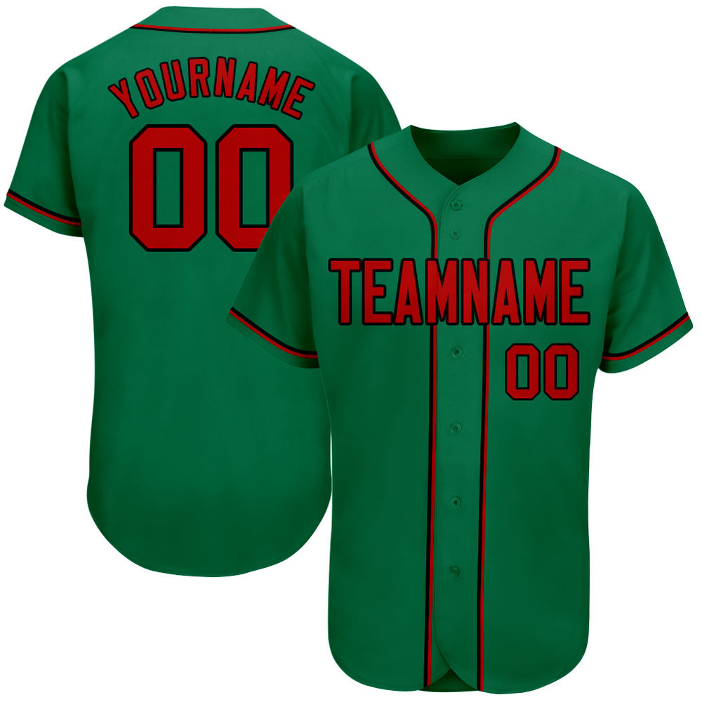 Custom Kelly Green Red-Black Authentic Baseball Jersey