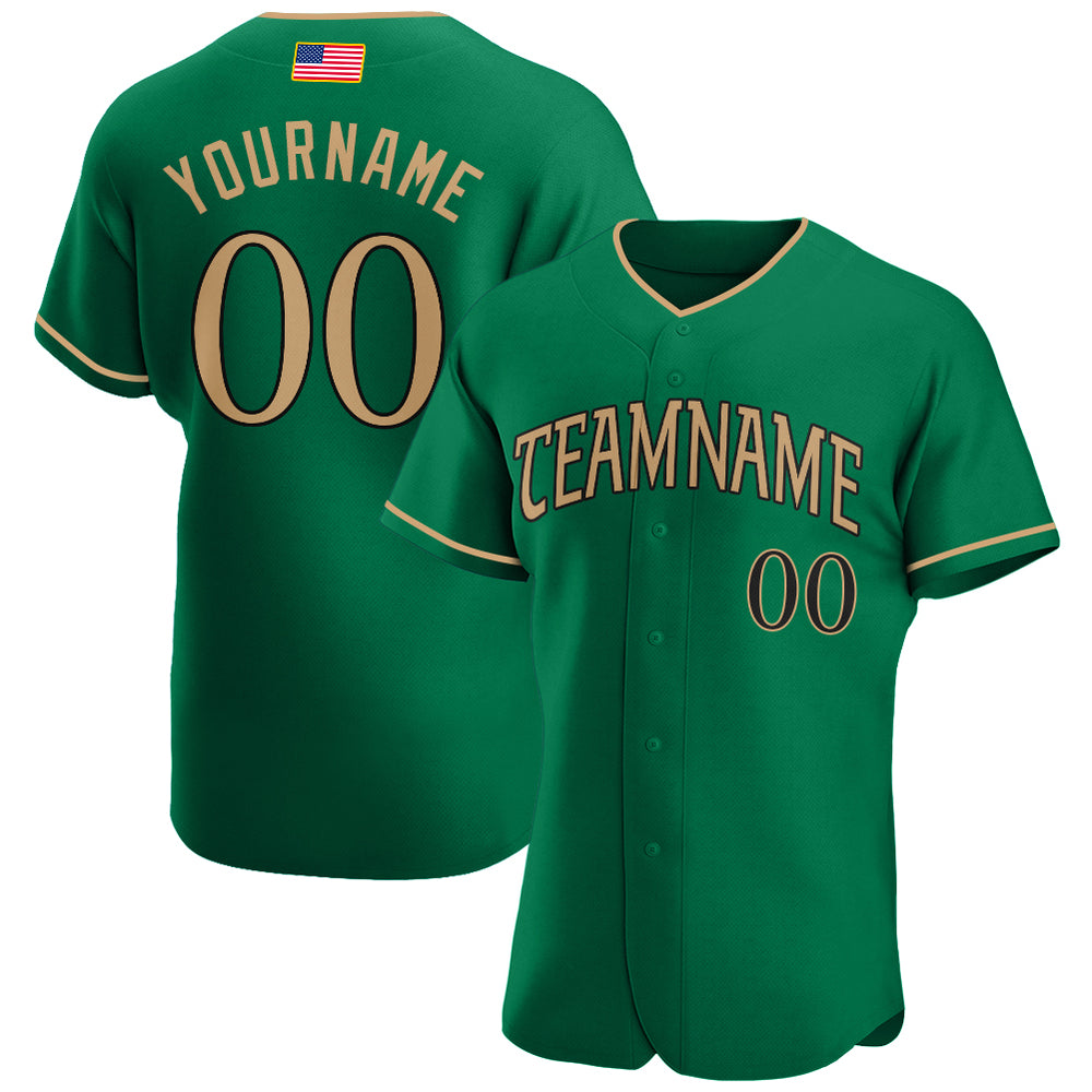 Custom Kelly Green Old Gold-Black Authentic American Flag Fashion Baseball Jersey