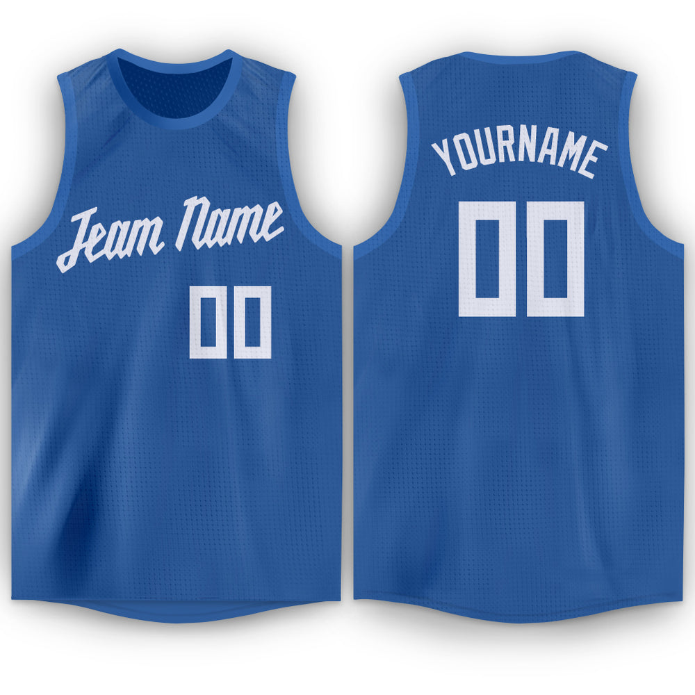 Custom Light Blue White Round Neck Basketball Jersey