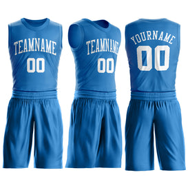 Custom Blue White Round Neck Suit Basketball Jersey