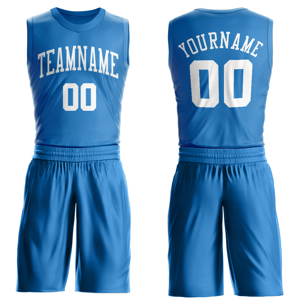 Custom Light Blue White Round Neck Suit Basketball Jersey
