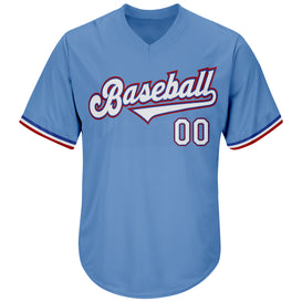 Custom Light Blue White-Red Authentic Throwback Rib-Knit Baseball Jersey Shirt