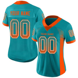 Custom Aqua Orange-White Mesh Drift Fashion Football Jersey