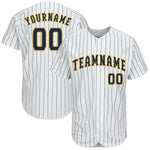 Custom White Royal Strip Navy-Gold Baseball Jersey