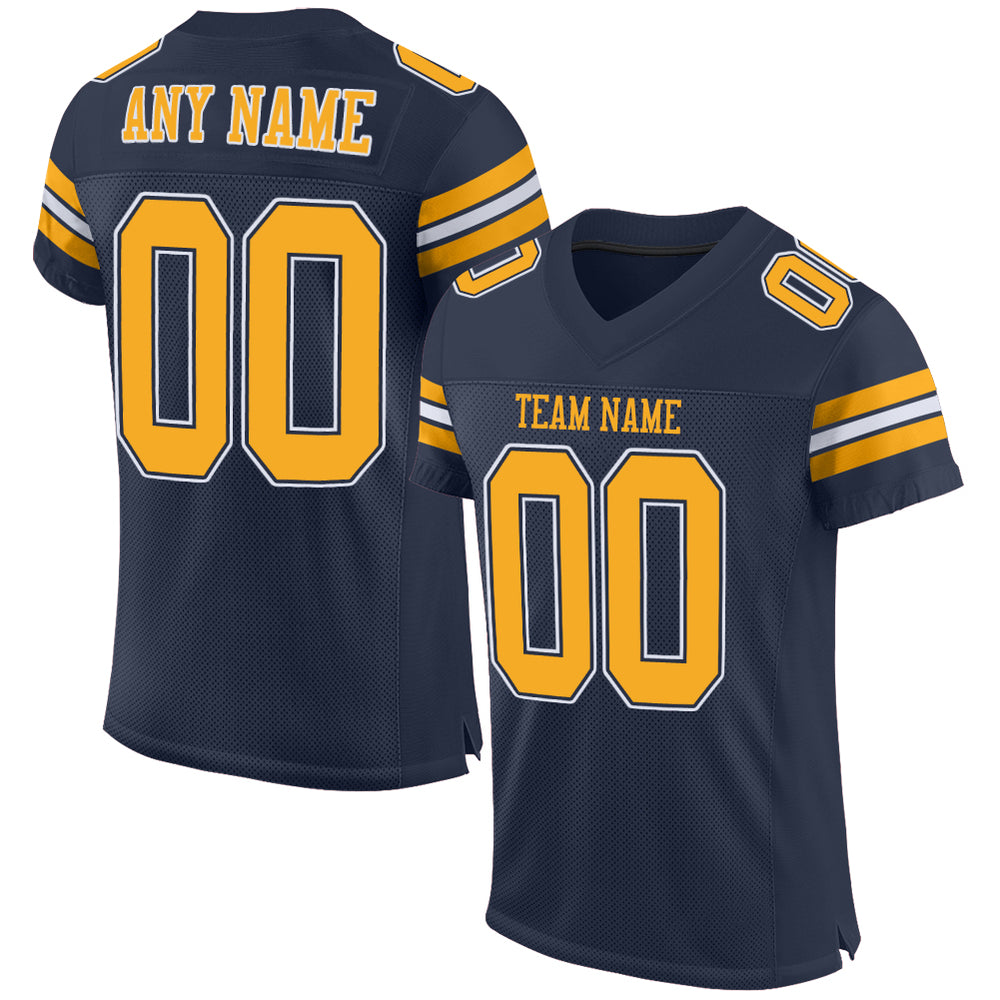 Custom Navy Gold-White Mesh Authentic Football Jersey